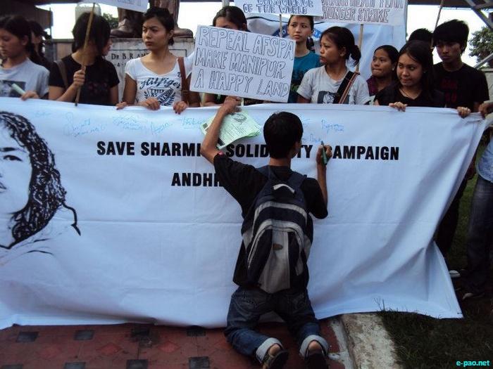 Save Irom Sharmila Solidarity Campaign at Ambedkar Statue, Hyderabad ::  2 October, 2011