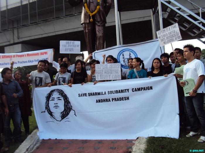 Save Irom Sharmila Solidarity Campaign at Ambedkar Statue, Hyderabad on 2 October 2011