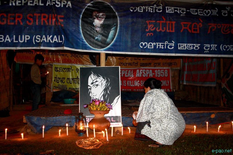 Irom Sharmila 12 years of fast: Candle Light vigil at JN Hospital (JNIMS), Porompat, Imphal :: Nov 5 2012