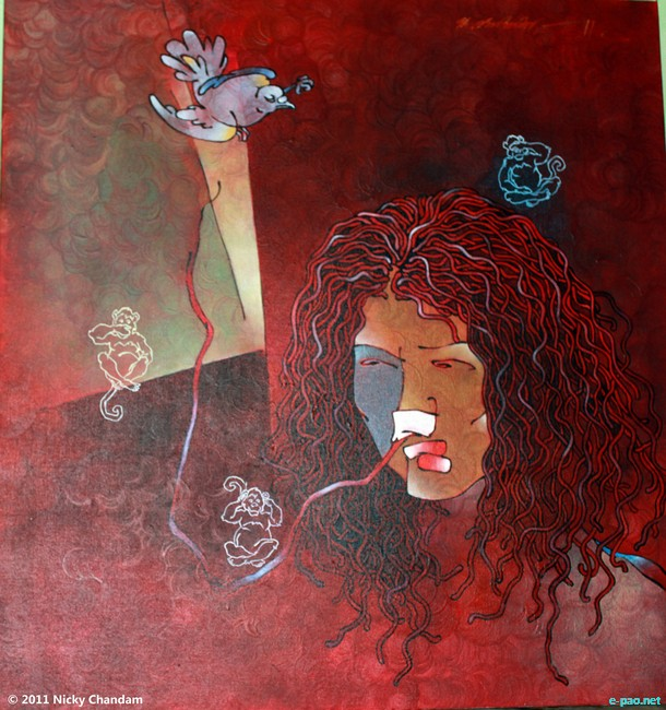 A painting of Irom Sharmila by Robindro