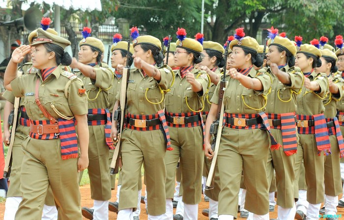 A women contingent at the Manipur Police Raising Day Parade at 1st Bn Manipur Rifles Parade ground on 19th October 2011