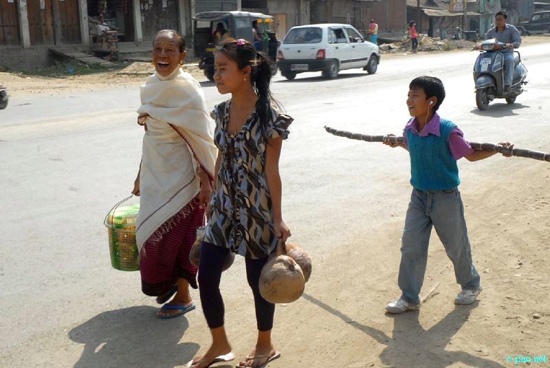 Ningols on the way to their homes during Ningol Chakkouba at Imphal on Novemver 15, 2012