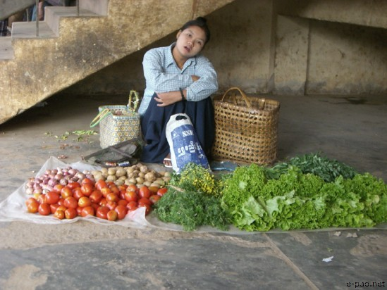 Sale of Tomato at a market at Moreh, a border town adjoining Tamu in Myanmar(Burma) in 2008