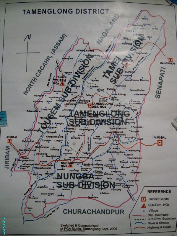 A Map of Tamenglong district