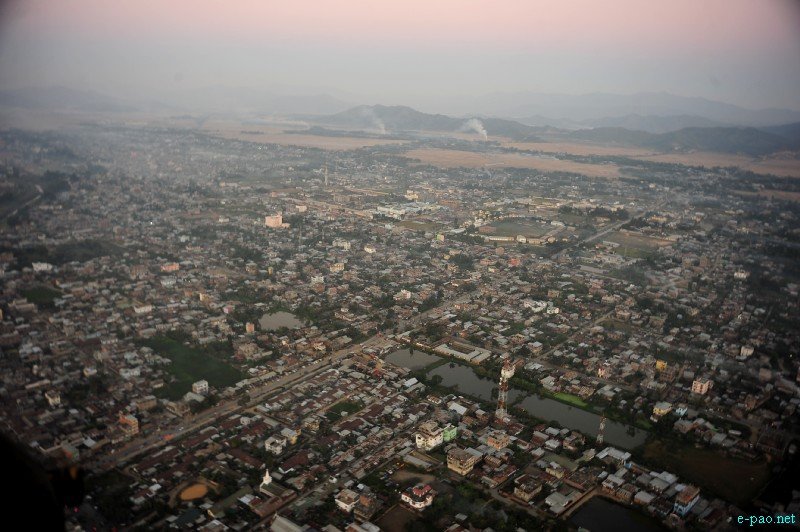Aerial view of Imphal City in November 2012