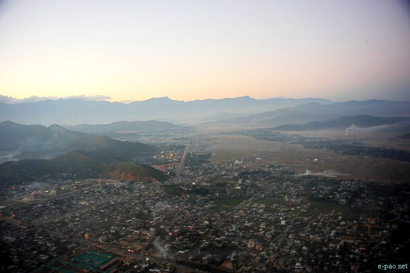An Aerial view of Imphal City (as seen in November 2012)