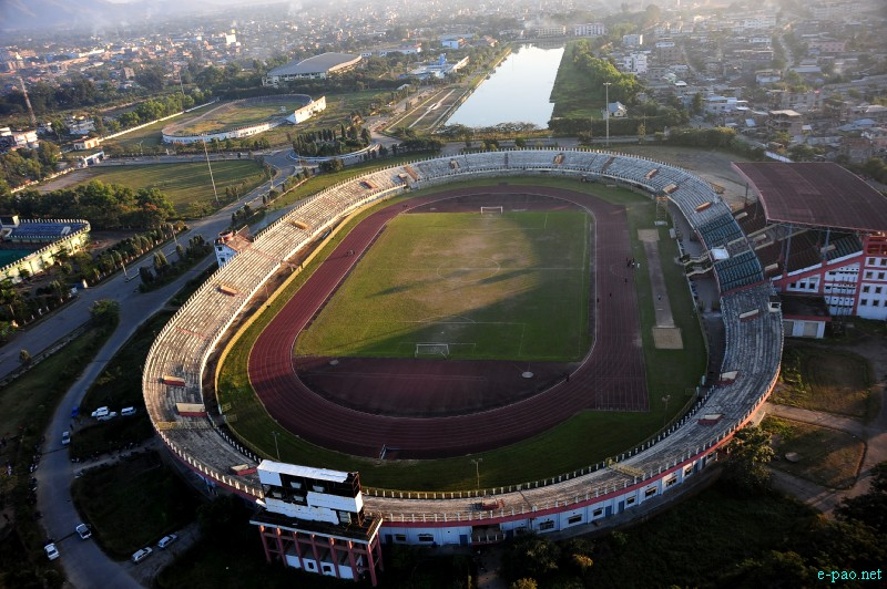 Aerial view of Khuman Lampak Sports Stadium in Imphal in November 2012