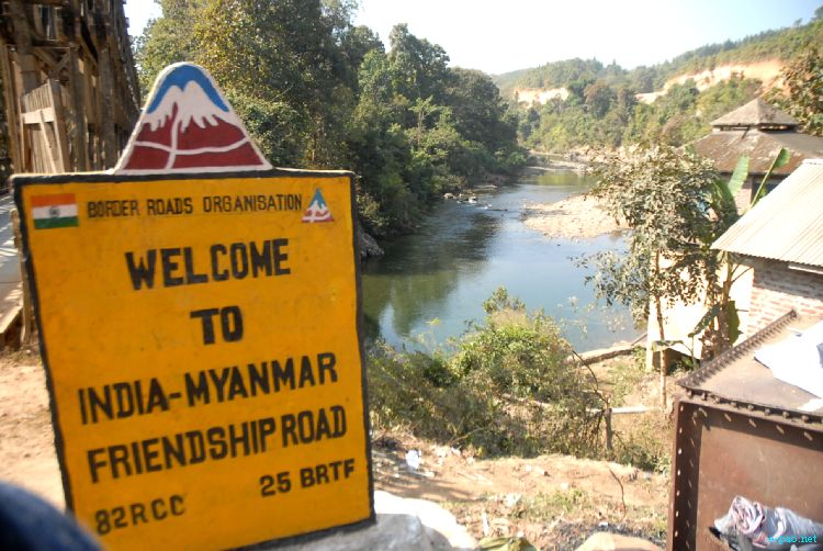 Indo-Myanmar Friendship Road at Moreh, Indo-Myanmar Border Town on National Highway in January 2012