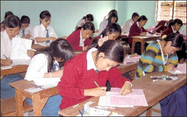 Candidates appearing at HSLC examination at a centre in Imphal West district in 2009