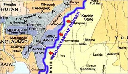 A graphic map showing the Indo-Myanmar border along the territory of Manipur