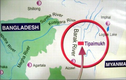 A picture of Tipaimukh and the rivers that flow to Bangladesh