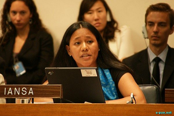 Binalakshmi Nepram speaking at the UN General Assembly, New York, 16 July 2009.