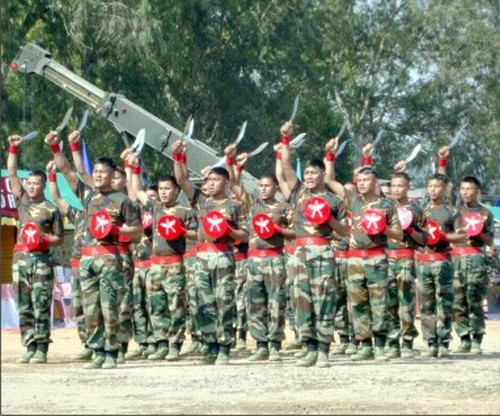 Troops of 4/8 Gurkha Rifles staging a Khukri dance :: January 15 2010: