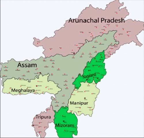 Map of North East NE India