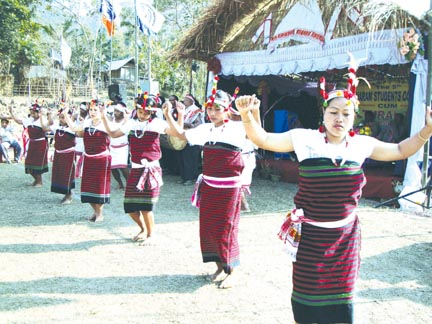 A cultural dance show of the Kharam Tribe