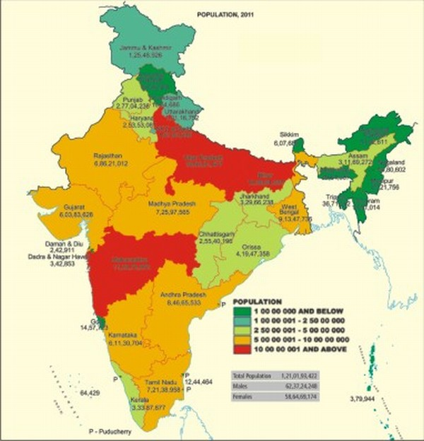 A map of India showing the population over regions (the key)