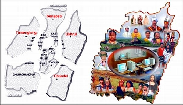Manipur Maps showing the different districts