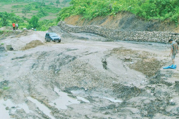 A 'Sinking' zone in a portion of the road in NH-2 in Manipur