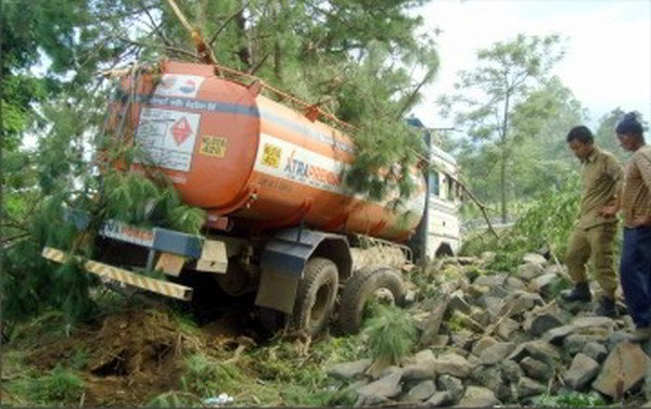 The oil tanker which knocked down three women before plunging into the road side