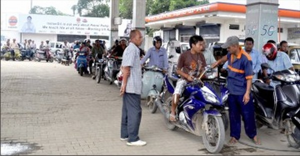 A long queue at PCTC petrol pump following the depleting stock of fuel
