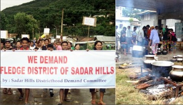 A rally staged at Saikul and relief camp for stranded passengers at Senapati