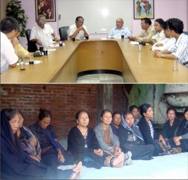 (Top) SHDDC delegation members briefing the media at New Delhi and (bottom) women volunteers on fast onto death agitation