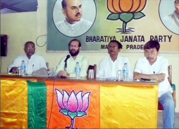 National and State BJP leaders addressing media persons