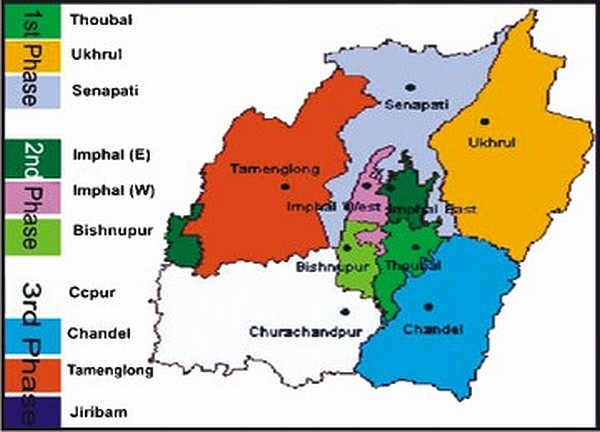 A political map of Manipur
