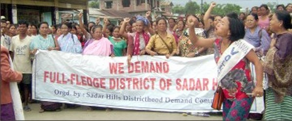 Womenfolk raising Sadar Hills district demand pitch