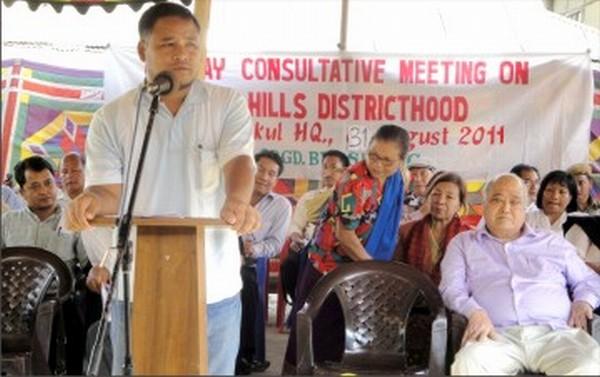 A speaker addresses the gathering at Saikul bazar