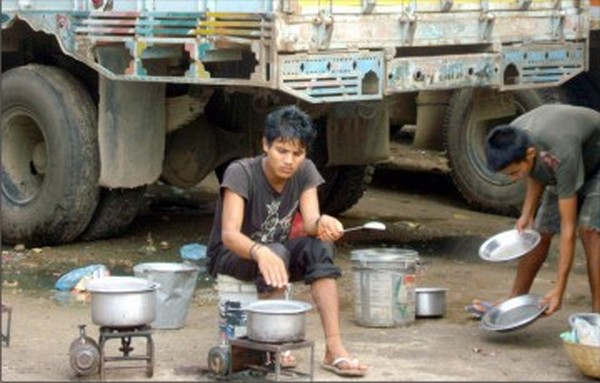 Stranded truckers cook their meal