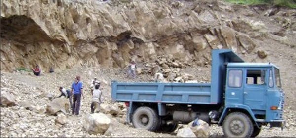Quarrying work on at the Hundung Cement factory some time back