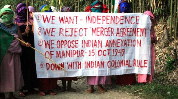 Womenfolk denouncing the Merger Agreement signed between India and the king of Manipur in 1949 :: October 15 2011