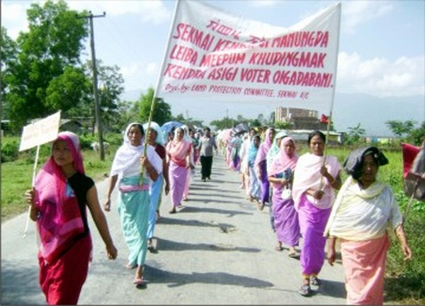 A rally being staged to demand status of Imphal West