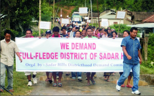 A rally staged on August 5 in support of district status on Sadar Hills