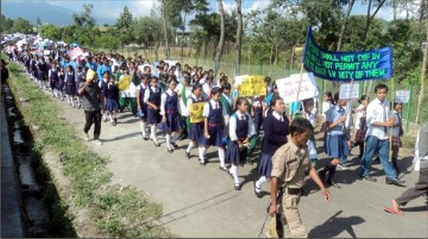 Students staging a rally for Sadar Hills