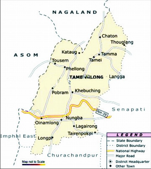 A map showing Tamenglong district