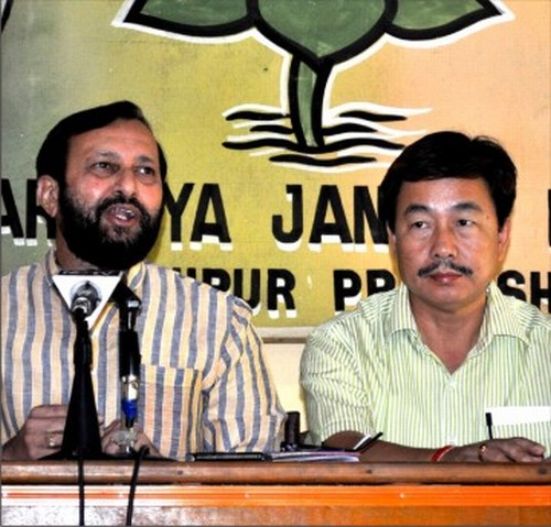 Prakash Javadekar and a BJP leader from Arunachal Pradesh