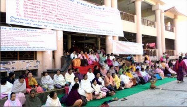 A sit-in-protest underway at Khwairamband bazar