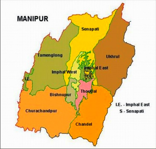 Political map of Manipur
