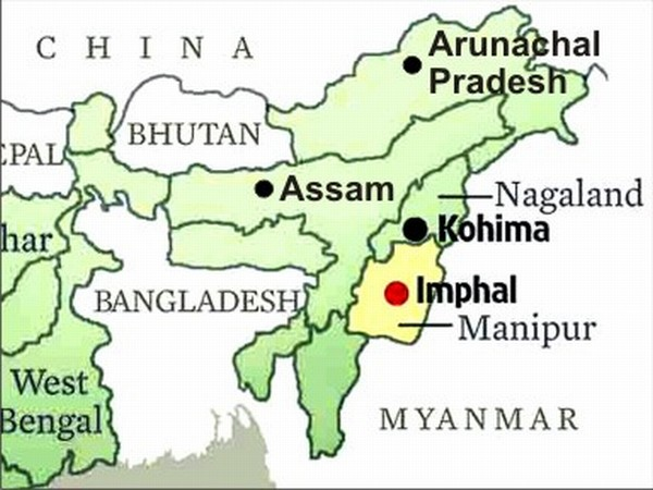 A map of the North East States showing Assam, Arunachal Pradesh, Nagaland and Manipur