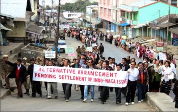 A rally demanding alternative arrangement for Nagas at Tamenglong