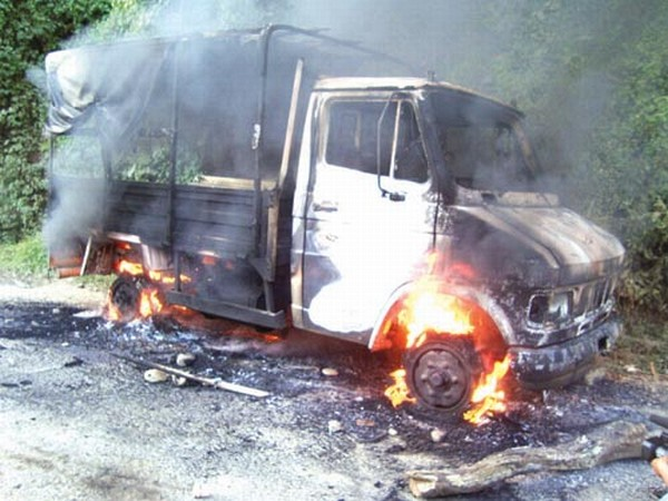 A 407 truck belonging to the police being burnt by UNC supporters � File photo