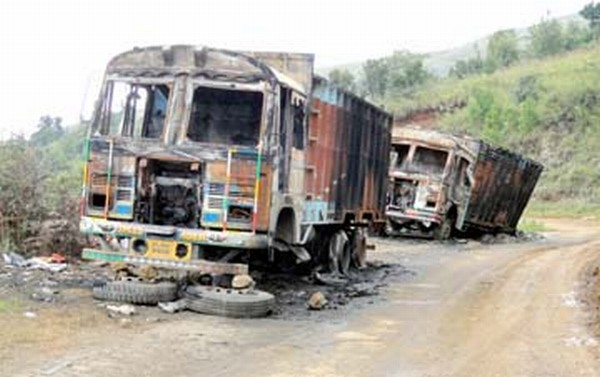 Remains to two trucks burnt in the counter blockade stir at Ukhrul