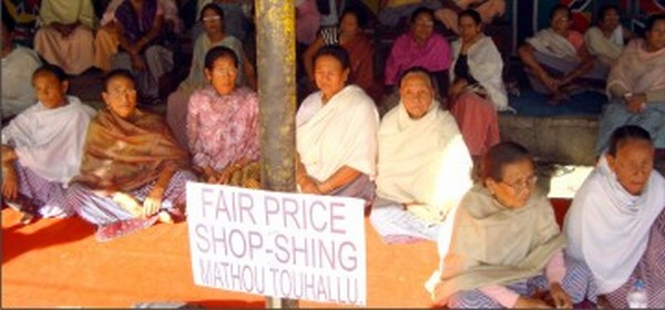 Womenfolk protesting the scarcity of goods