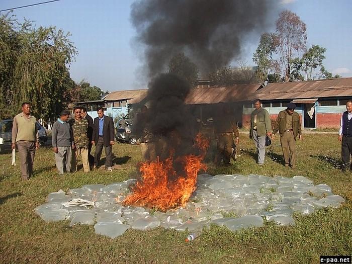 Excise Dept disposing off seized (2330 litres) Country Made Liquor