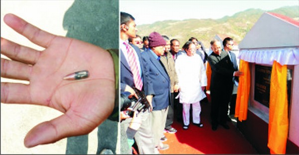 A bullet recovered from one of the sites where the CM inaugurated the offices