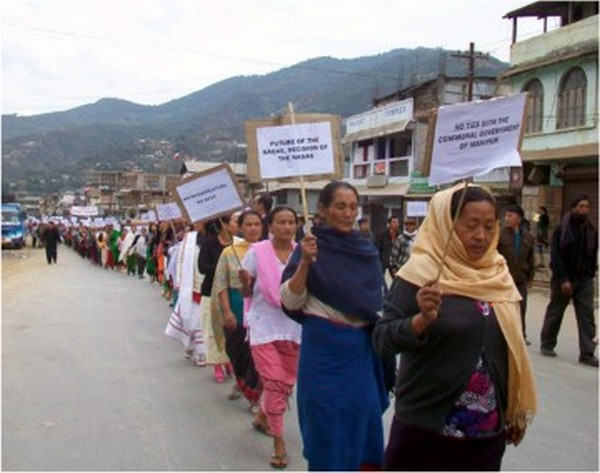 People taking out a mass rally at Senapati demanding expedition of the process for Alternative Arrangement