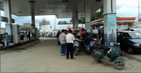 File picture of a queue at a petrol pump