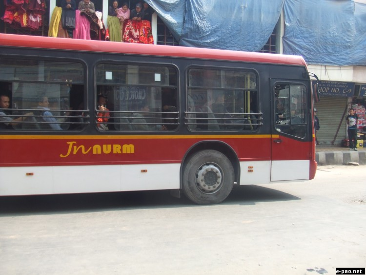 Semi-low floor bus for ferrying passengers within the market areas in Imphal on February 23 2012